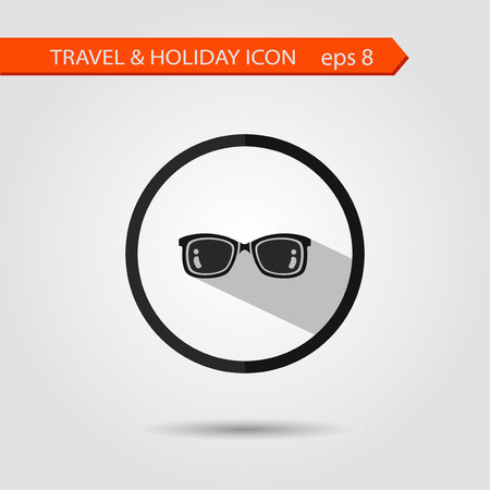 corrective lenses: Vector flat stylish icon with long shadow effect of traveling tourism and vacation. Sunglasses eps 8.