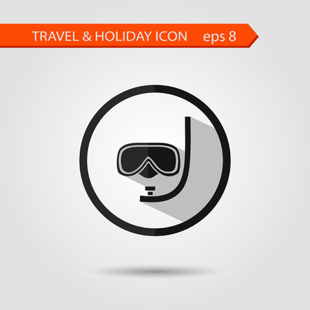 dive: Vector flat stylish icon with long shadow effect of traveling tourism and vacation. Dive mask eps 8.