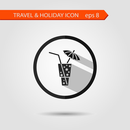 coctail: Vector flat stylish icon with long shadow effect of traveling tourism and vacation. Coctail with umbrella eps 8.