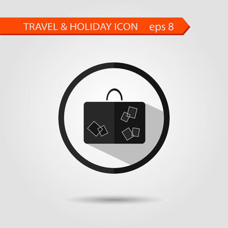 Vector flat stylish icon with long shadow effect of traveling tourism and vacation. Baggage eps 8. Vector