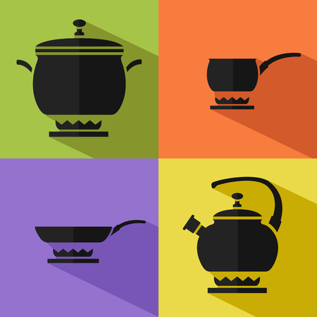 steam cooker: Flat stylish vector kitchen and cooking icons with long shadows.