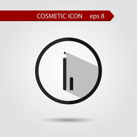 eyeliner: Vector stylish flat icon of eyeliner of beauty and cosmetics. Elements with a long shadow.Icons in flat design. Flat design style modern vector illustration.