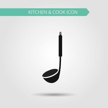 cooking utensils: Vector flat stylish icon of kitchen and cooking. Kitchen utensils. Ladle spoon.
