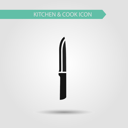 cooking utensils: Vector flat stylish icon of kitchen and cooking. Kitchen utensils. Knife Illustration