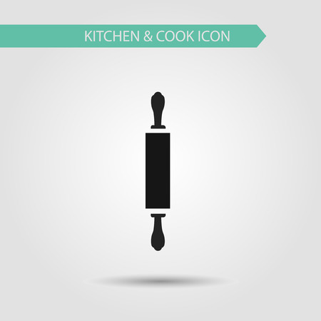 Vector flat stylish icon of kitchen and cooking. Kitchen utensils. Rolling pin. Иллюстрация
