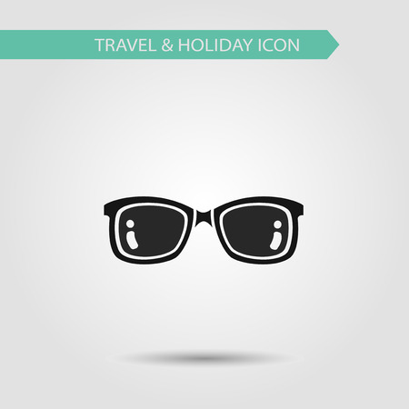 corrective lenses: Vector flat stylish icon of traveling tourism and vacation. Sunglasses.