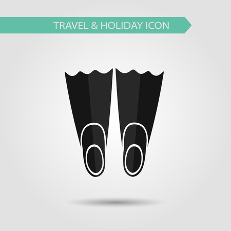 flippers: Vector flat stylish icon of traveling tourism and vacation. Flippers.