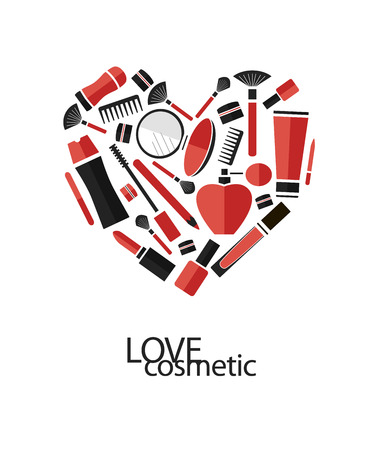 of cosmetics: Vector heart of flat cosmetics icons and makeup design elements. Love cosmetics.