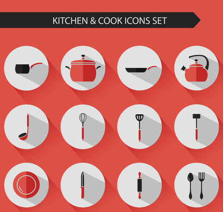 steam cooker: Flat stylish vector kitchen and cooking icons set with long shadows. Illustration