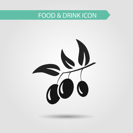 italian tradition: Vector flat stylish icon of food and drink and ingredients for cooking. Kitchen utensils. Design elements set for website isolated on white background. Three olives on brunch.