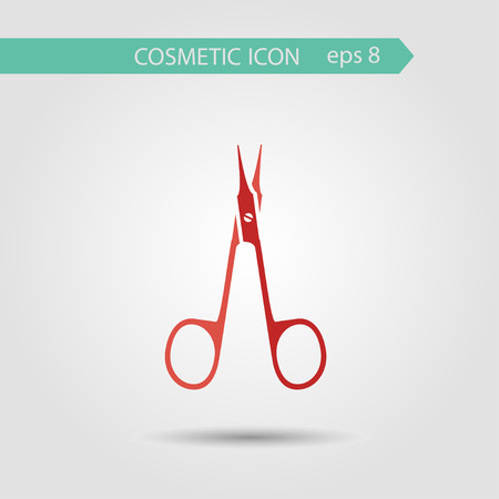 nail scissors: Vector stylish flat icon of nail scissors of beauty and cosmetics.