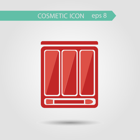 eye shadow: Vector stylish flat icon of eye shadow palette with brush of beauty, makeup and cosmetics.