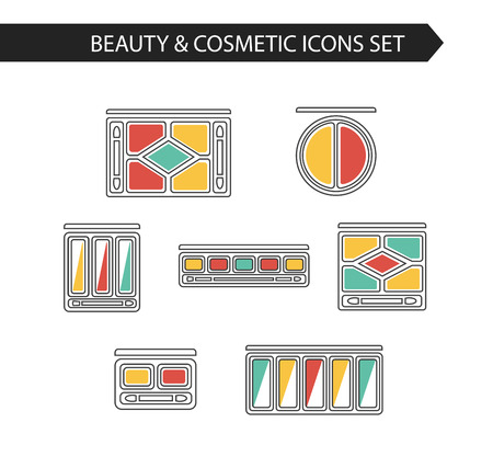 Thin line flat vector cosmetic, beauty and makeup icons. Design elements set for website isolated on white background. Eye shadows and compact powders palettes.