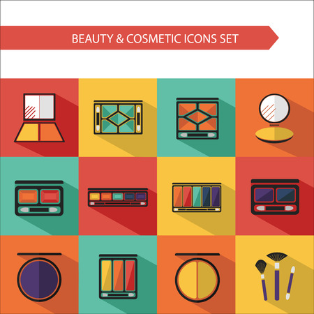Flat vector cosmetics icons and makeup design elements set for website in pastel colors. Eye shadow, compact powder, palette concealer with brush.