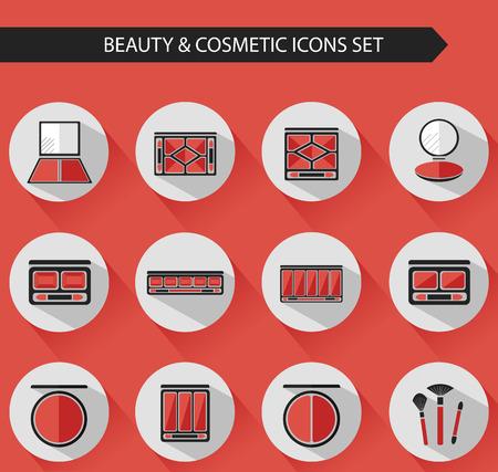 concealer: Piatti vettoriali cosmetici icone ed elementi di design insieme di trucco per il sito Web in colori pastello. Ombretto, cipria compatta, la tavolozza correttore con pennello.