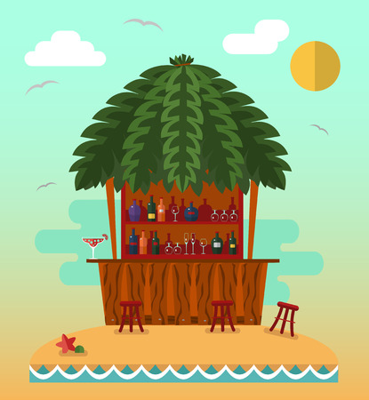 tiki party: Flat style vector illustration of cocktail bar on tropical beach.