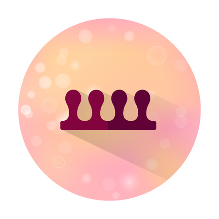 separator: Vector stylish flat icon with long shadow effect of beauty and cosmetic on blurred background. Fingers separator for pedicure.