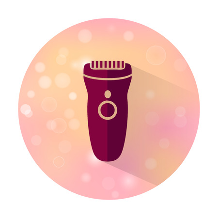 clipper: Vector stylish flat icon with long shadow effect of beauty and cosmetic on blurred background. Clipper.