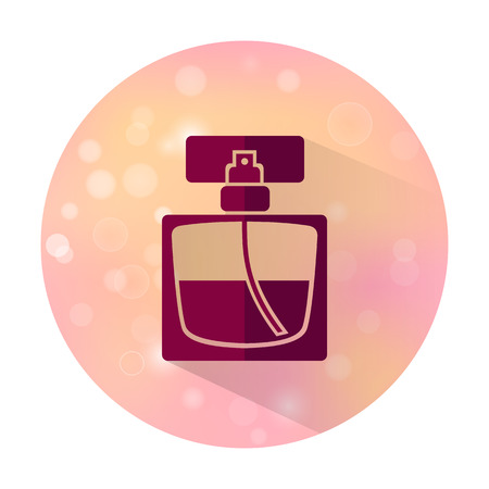 perfume spray: Vector stylish flat icon with long shadow effect of beauty, makeup and cosmetic on blurred background. Perfume bottle.