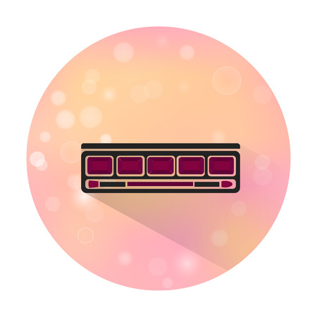 eye shadow: Vector stylish flat icon with long shadow effect of beauty, makeup and cosmetic on blurred background. Eye shadow palette with brush. Illustration