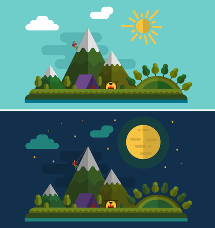 alpinist: Flat design nature landscape illustration with alpinist and camping, sun, hills, montains, moon and clouds.