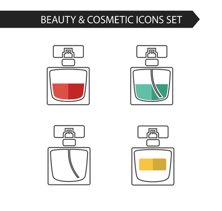 perfume woman: Vector stylish thin line icons of perfume bottle of beauty, makeup and cosmetics. Illustration