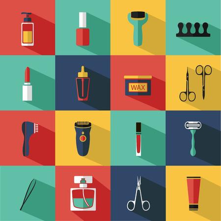 cosmeticos: Vector cosméticos iconos planos y elementos de diseño Set Maquillaje para el sitio web en tonos pastel.