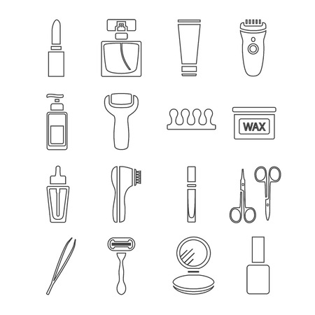 beaut� esthetique: Thin line flat vector cosmetic, beauty and makeup icons. Design elements set for website isolated on white background.