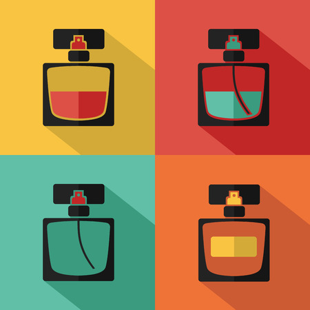 perfume: Vector stylish flat icon of perfume bottle of beauty, makeup and cosmetics.