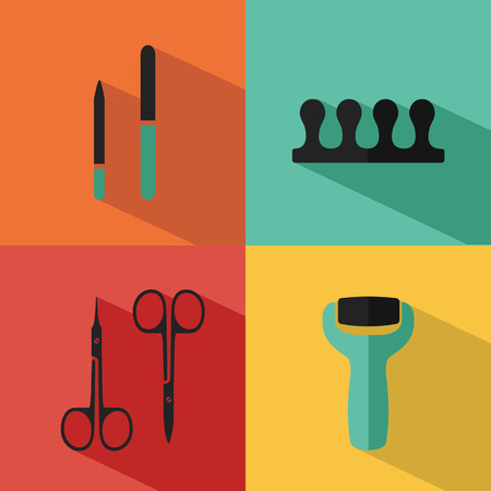 separator: Flat vector cosmetics icons set of pedicure for website in pastel colors. Electric foot file, scissors, nail file, fingers separator.