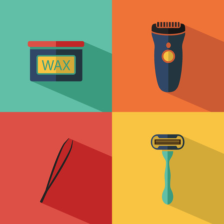 Flat vector cosmetics icons set of depilation for website in pastel colors. Bottle of wax, shaving razor, eyebrow tweezers, clipper.