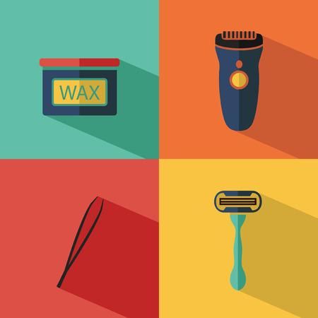 depilacion con cera: Piso de cosméticos de vectores iconos conjunto de depilación para el sitio web en tonos pastel. Botella de cera, maquinilla de afeitar, pinzas de cejas, podadoras. Vectores