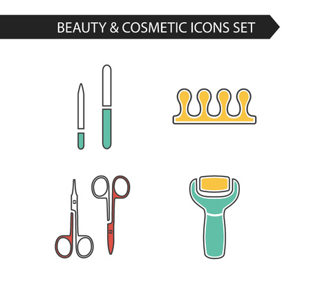 separator: Vector stylish thin line cosmetics icons set of pedicure. Electric foot file, scissors, nail file, fingers separator.