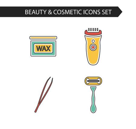 depilacion con cera: Vector estilo de cosméticos de línea delgada iconos conjunto de depilación. Botella de cera, maquinilla de afeitar, pinzas de cejas, podadoras.