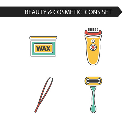 Vector stylish thin line cosmetics icons set of depilation. Bottle of wax, shaving razor, eyebrow tweezers, clipper. 向量圖像