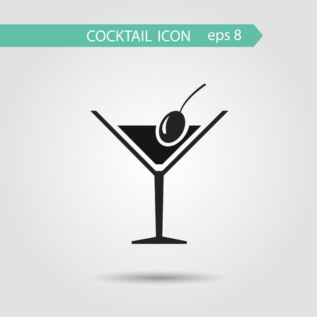 Vector flat stylish cocktail icon with olive.