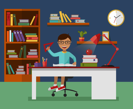 Kid learns concept. Child reading book and learning in his room with working desk, lamp, bookcase, files and books. Flat vector illustration. Stock Illustratie