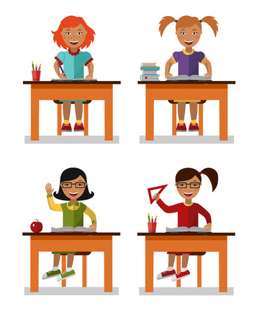 Study Desk: Flat style vector illustration of school kids sitting on table with books