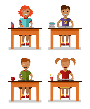 little boy and girl: Flat style vector illustration of school kids sitting on table with books