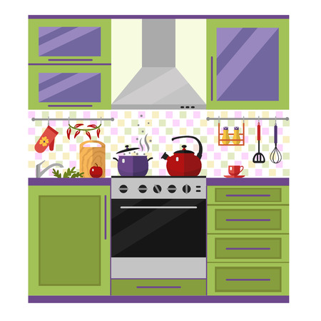 Kitchen with utensils, food and devices in color. Flat style vector illustration.
