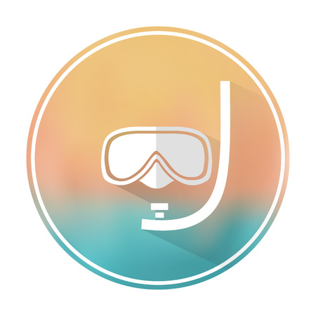 dive: Vector flat stylish icon with long shadow effect of traveling tourism and vacation on blurred background. Dive mask.