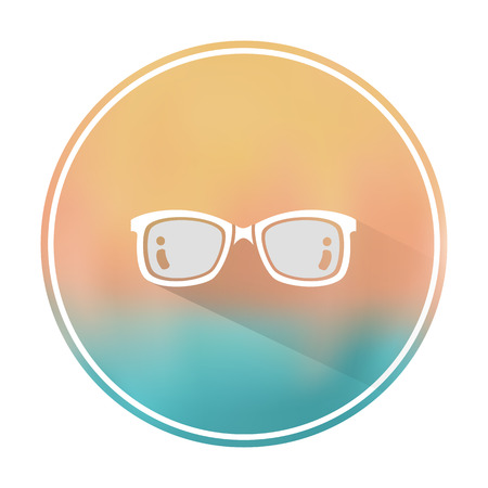 corrective lenses: Vector flat stylish icon with long shadow effect of traveling tourism and vacation on blurred background. Sunglasses. Illustration