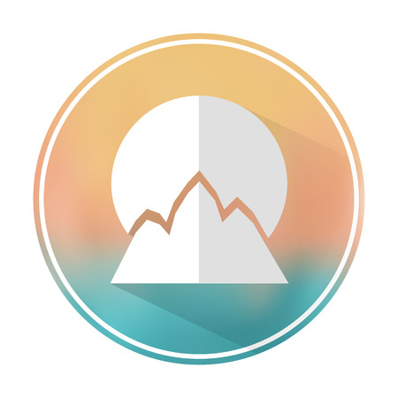 Vector flat stylish icon with long shadow effect of traveling tourism and vacation on blurred background. Sun and mountain.