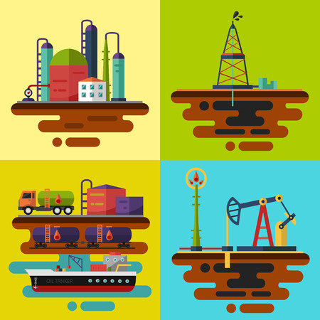 Vector flat illustrations. Oil extraction, oil rig, oil pumping station, oil delivery and storage, oil factory.