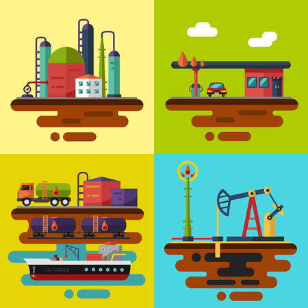 extraction of oil: Vector flat illustrations. Oil extraction, oil pumping station, oil delivery and storage, oil factory, gas station. Illustration