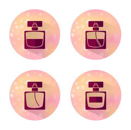perfume spray: Four vector flat style icons of perfume bottles of beauty, makeup and cosmetics on blurred background. Illustration