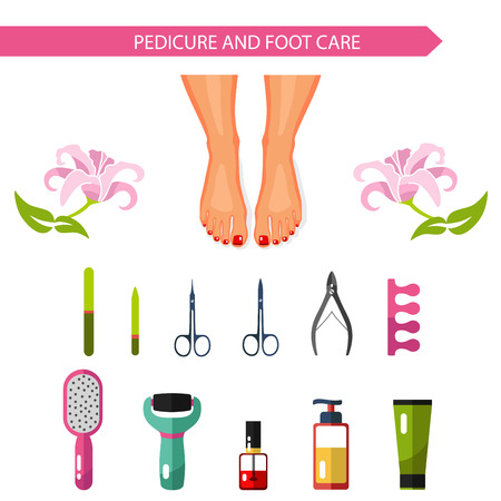 Vector flat design illustration of pedicure procedure. Pedicure spa. Beautiful female legs or feet with red nails. Nail file, nail polish, scissors, cream, foot file. Isolated on white.