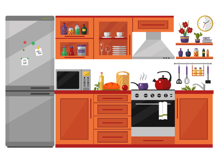 lunch room: Kitchen interior with utensils, food and devices. Including fridge, oven, microwave, kettle, pot. Flat style icons and illustration isolated on white.