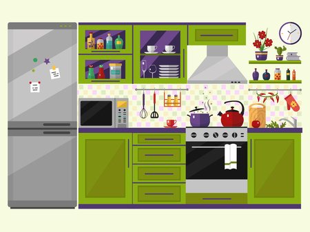 Green kitchen interior with utensils, food and devices. Including fridge, oven, microwave, kettle, pot. Flat style icons and illustration. Stock Illustratie