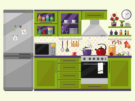 cocina caricatura: Interior de la cocina verde con utensilios, alimentos y dispositivos. Incluyendo nevera, horno, microondas, cafetera, olla. Iconos de estilo plano y la ilustración.